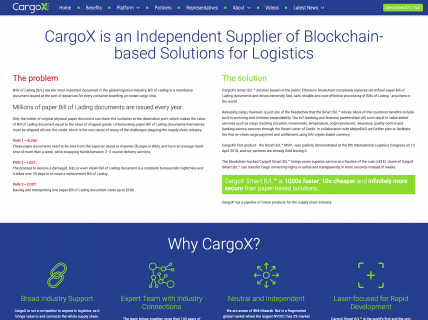 Screenshot of the About – Executive Summary page from the CargoX website.