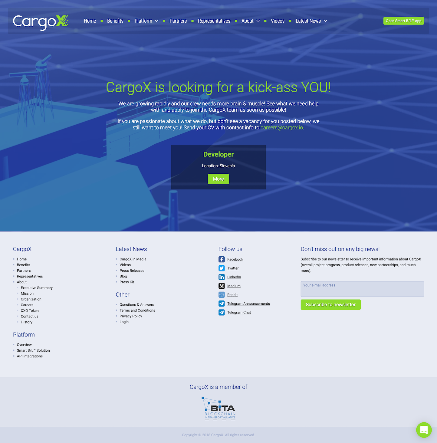Screenshot of the Careers page from the CargoX website.