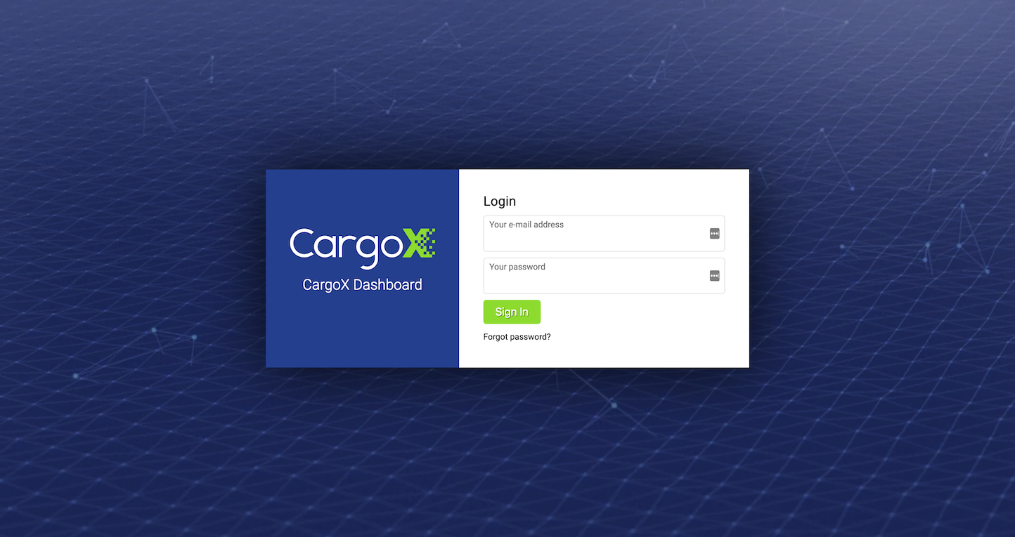 Screenshot of the Login page from the CargoX website.