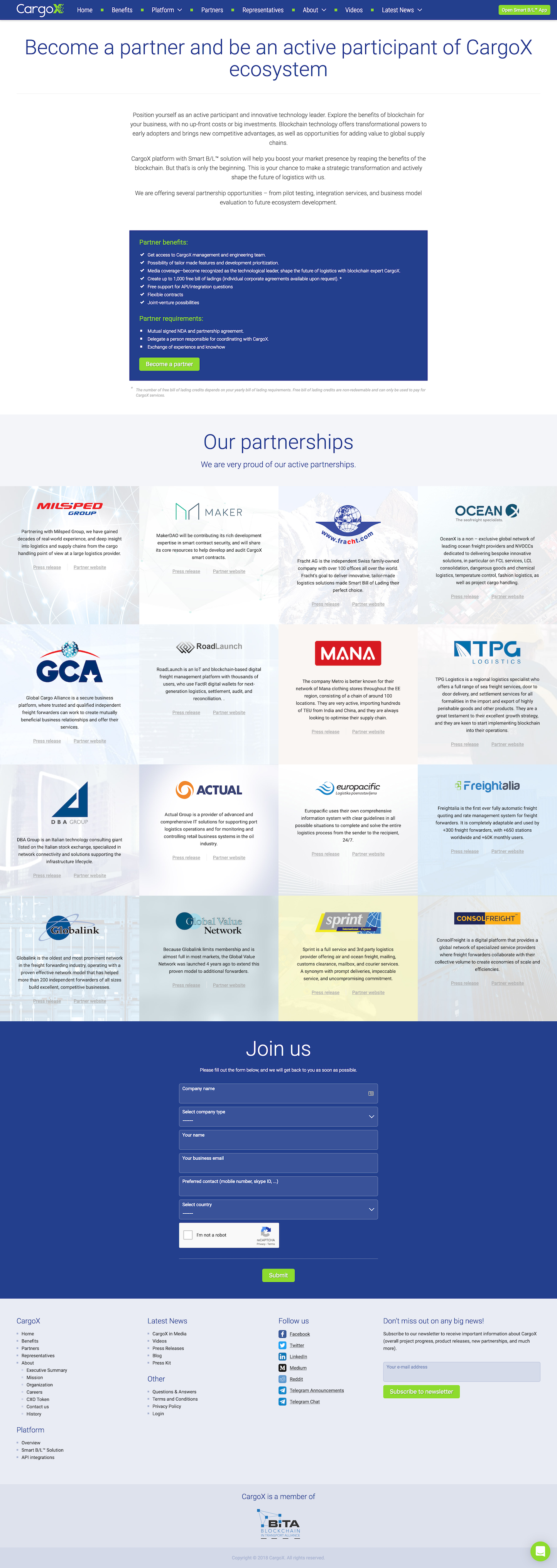 Screenshot of the Partners page from the CargoX website.