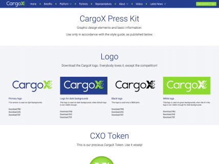 Screenshot of the Brand Guidelines page from the CargoX website.