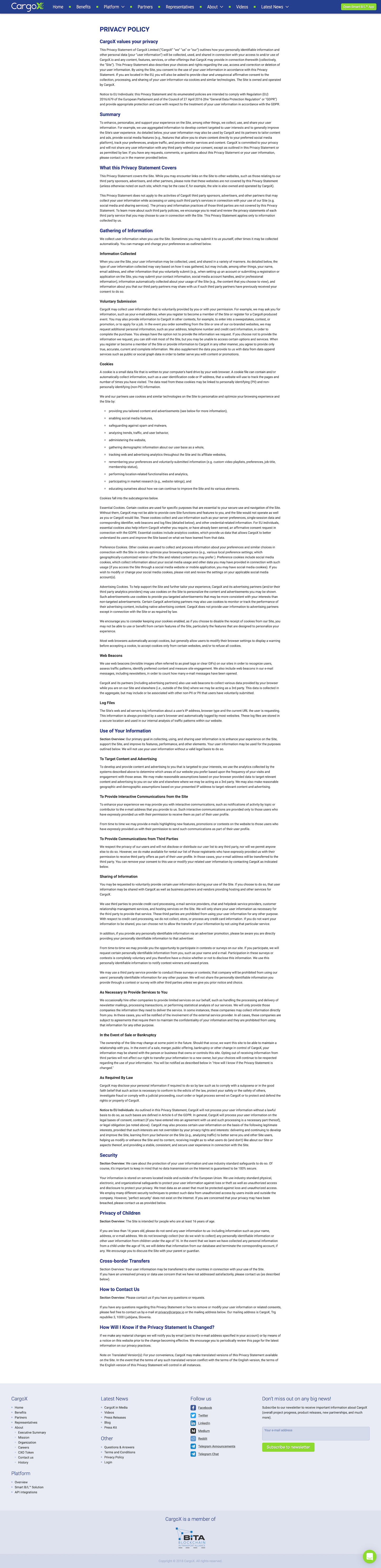 Screenshot of the Privacy Policy page from the CargoX website.