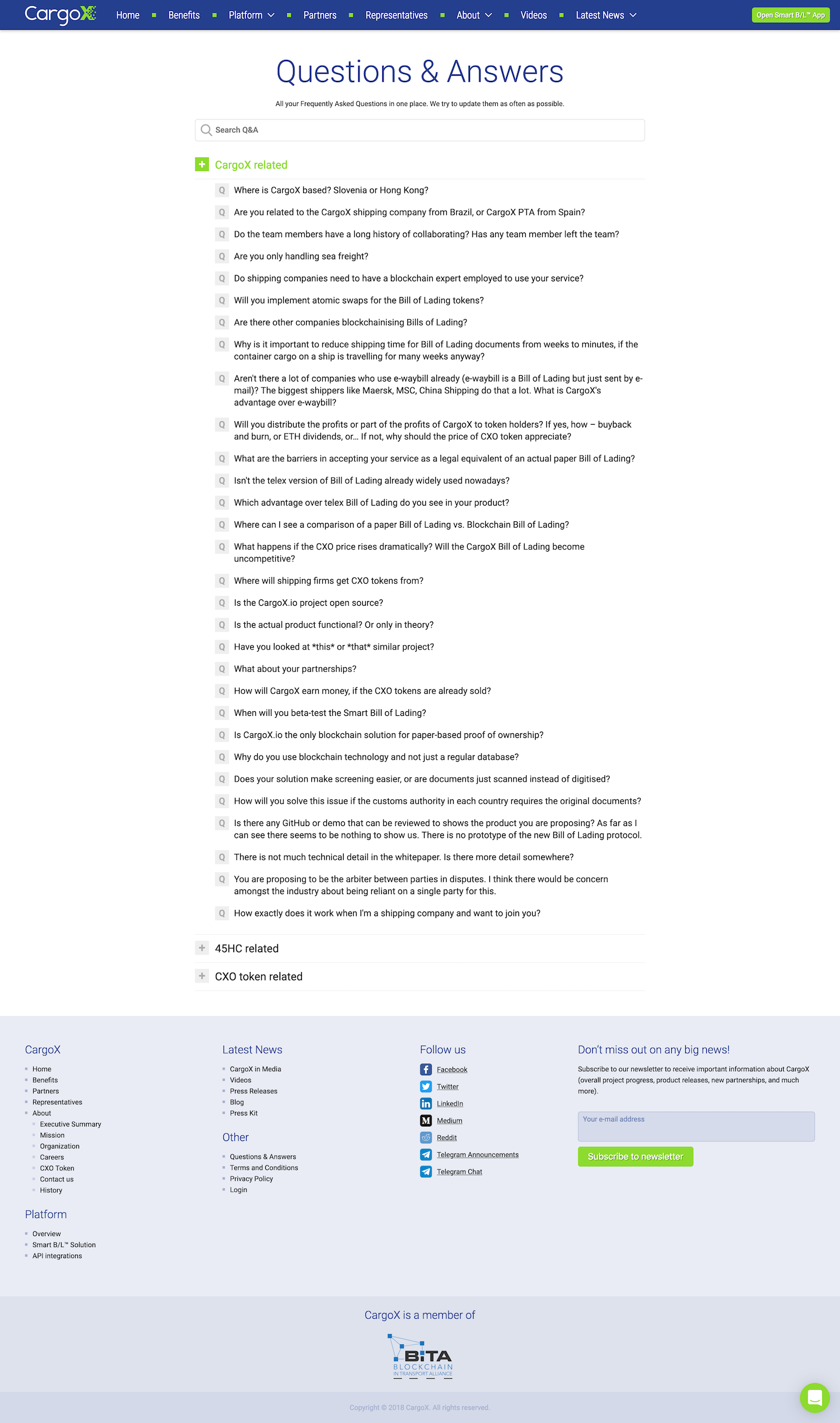 Screenshot of the Questions & Answers page from the CargoX website.