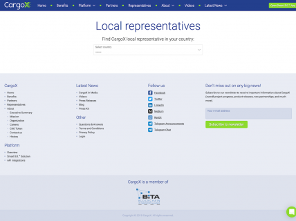 Screenshot of the Representatives page from the CargoX website.