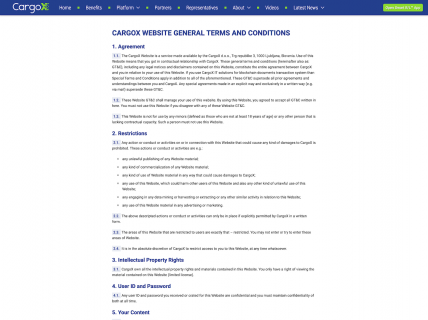 Screenshot of the Terms & Conditions page from the CargoX website.