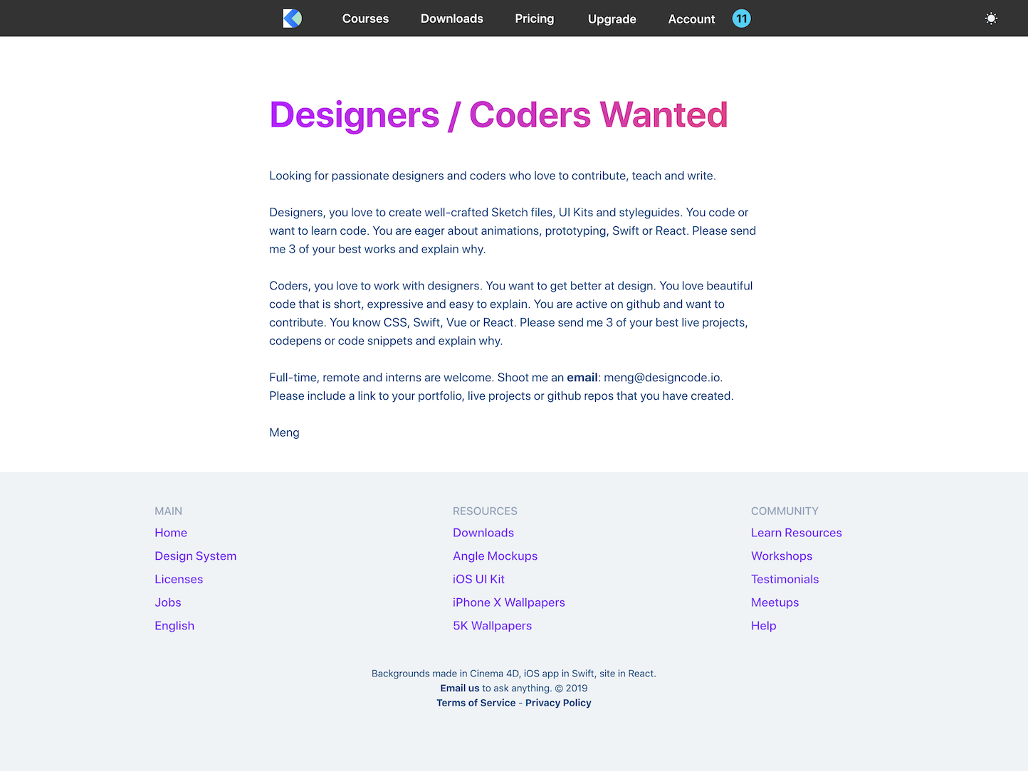Screenshot of the Jobs page from the Design+Code website.