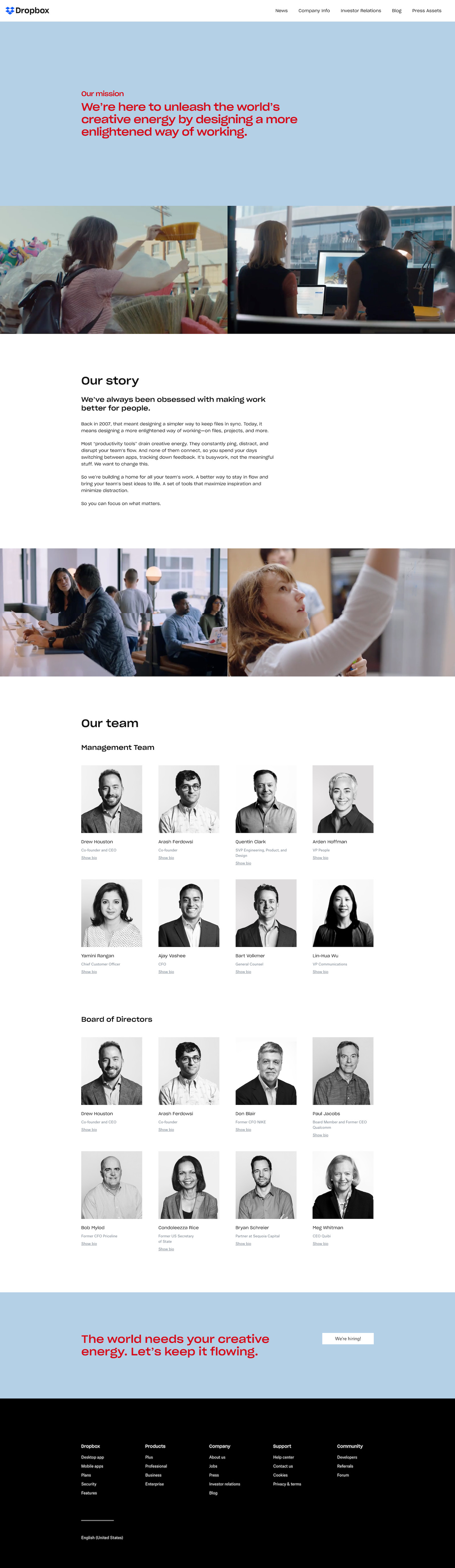Screenshot of the About page from the Dropbox website.