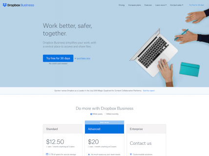 Screenshot of the Business page from the Dropbox website.