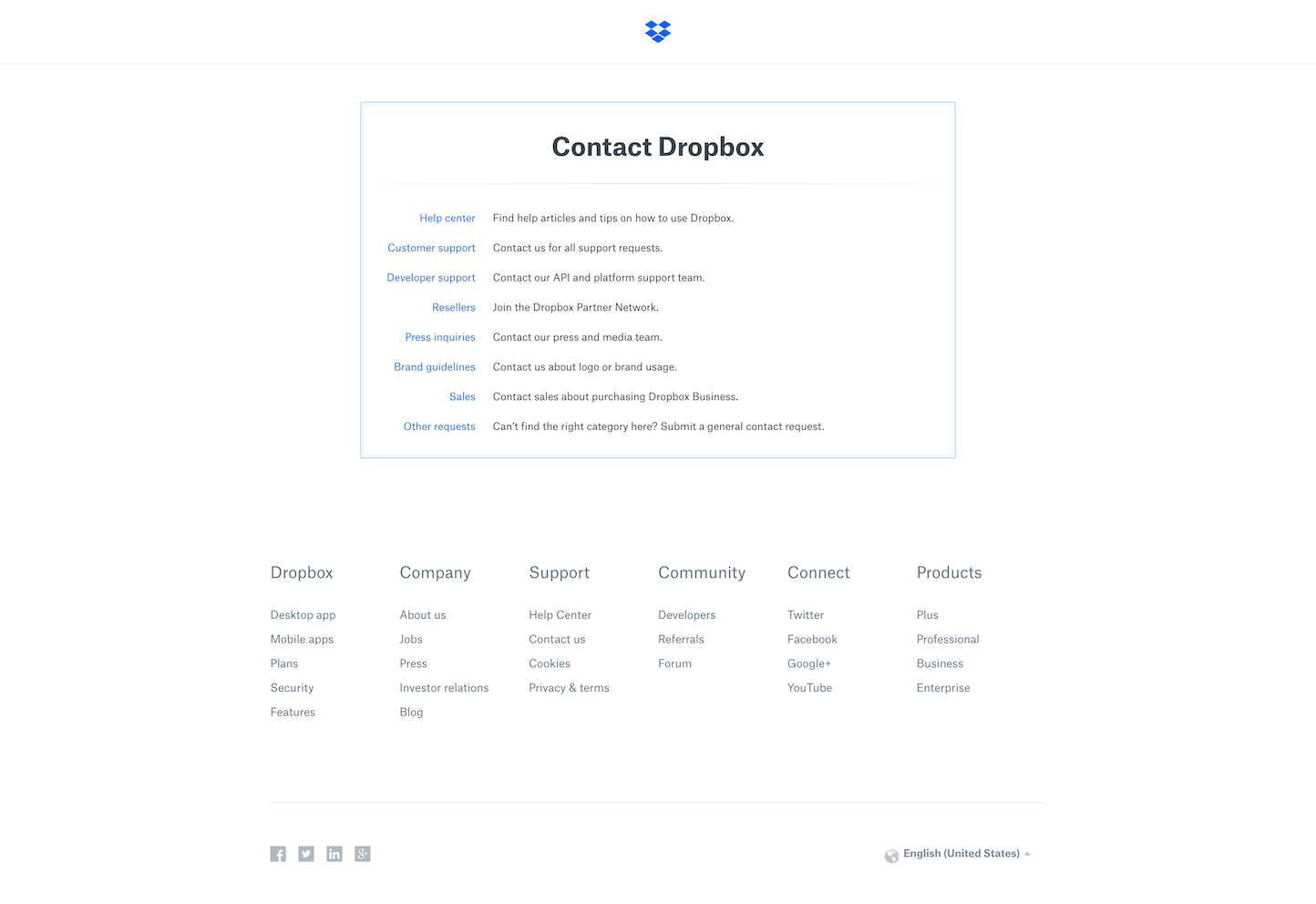 Screenshot of the Contact Us page from the Dropbox website.