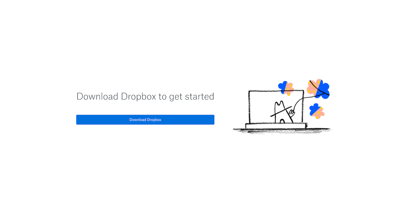 Screenshot of the Install page from the Dropbox website.