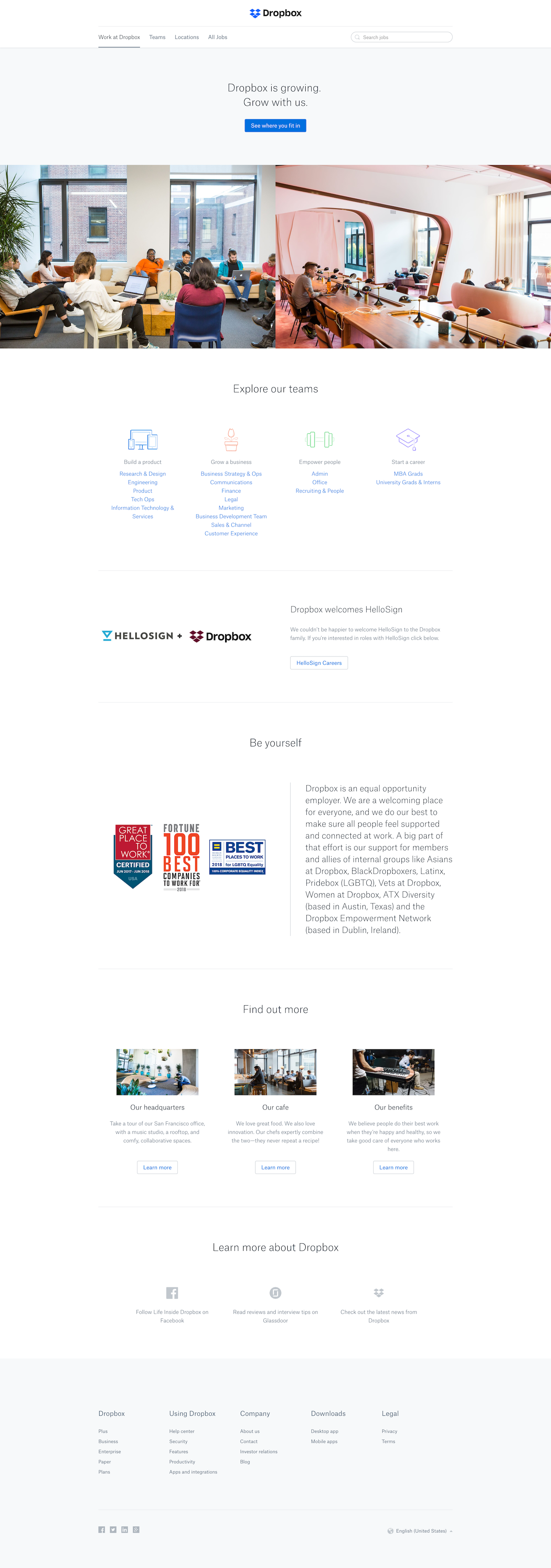 Screenshot of the Jobs page from the Dropbox website.
