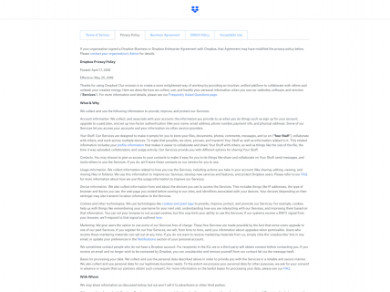 Screenshot of the Privacy Policy page from the Dropbox website.