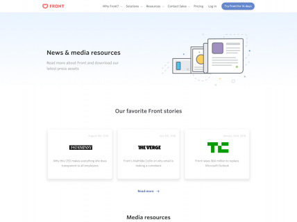 Screenshot of the Press page from the Front website.