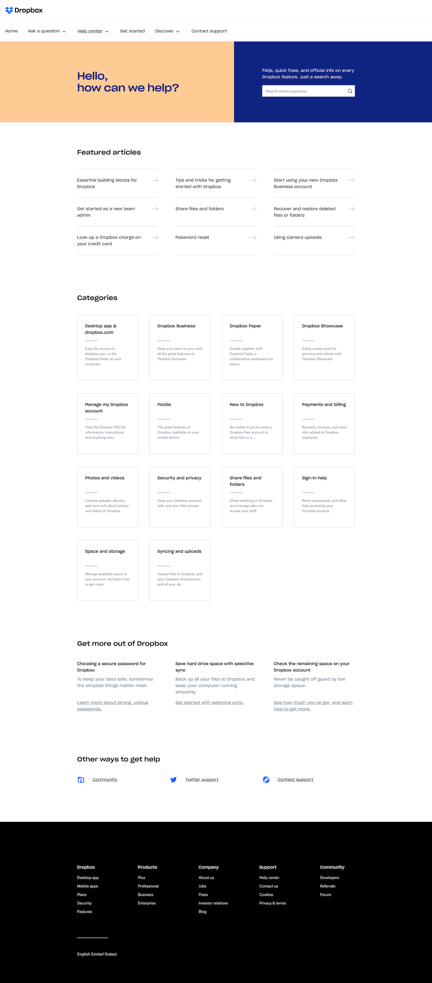 Screenshot of the Help page from the Dropbox website.