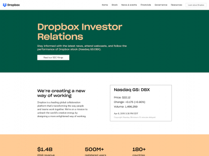 Screenshot of the Investor Relations page from the Dropbox website.